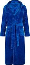 Flanel fleece badjas - kobaltblauw - capuchon maat L/XL