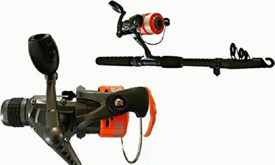 Max Ranger - Hoge prestatie professionele vishengel set - 100% carbon fiber - Compact en licht gewicht design - Snel en gevoelige actie - Rood - 2.55M - Comfortabel en roestvrij staal - inclusief haspel