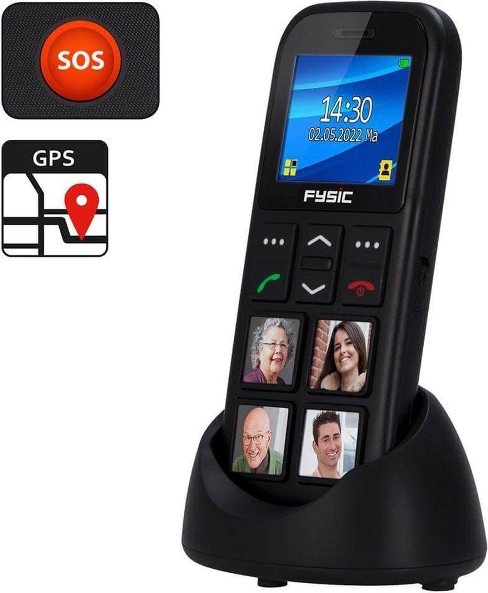 Fysic FM-50 GSM met GPS en fototoetsen – 4 Grote fototoetsen – Zwart