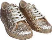 Gouden glitter disco sneakers/schoenen voor dames 38