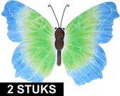 2x Blauw/groene metalen vlinders 40 cm tuinversiering - Schuttingdecoratie/tuindecoratie vlinders