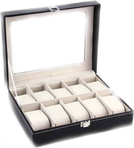 Horlogebox - luxe horloge houder - Zwart leer - geschikt voor 10 stuks - 20 cm x 25cm - DisQounts