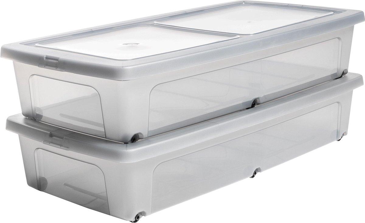 IRIS Clearbox onder-het-bed Opbergbox - 35L - Kunststof - Transparant/Grijs - Set van 2
