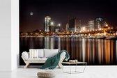 Volle maan schijnt over Luanda in Angola fotobehang vinyl breedte 600 cm x hoogte 400 cm - Foto print op behang (in 7 formaten beschikbaar)