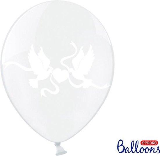 50 Ballonnen in zak duiven crystal - Wit/ivoor 30cm