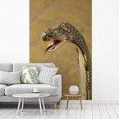 Fotobehang vinyl - Konings cobra met een dreigende blik breedte 180 cm x hoogte 280 cm - Foto print op behang (in 7 formaten beschikbaar)