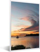 Foto in lijst - Prachtige zonsondergang bij de Pantanal fotolijst wit 40x60 cm - Poster in lijst (Wanddecoratie woonkamer / slaapkamer)