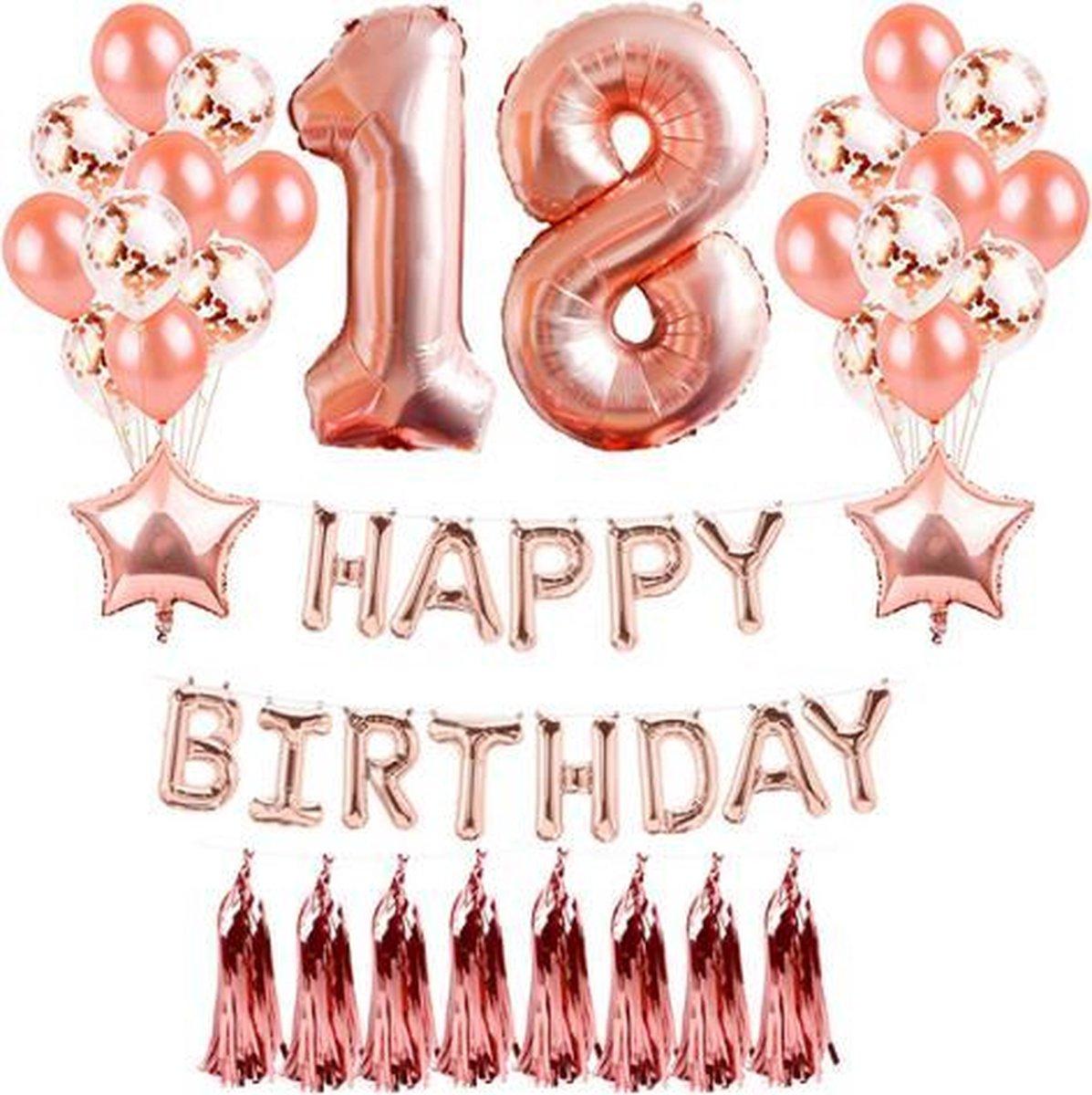 Verbazingwekkend bol.com   18 jaar Verjaardag Versiering - Rose Goud - All-in-one ZV-16