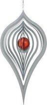 BlinQ Art Windspinner Pendel RVS - 240x118mm - Glaskogel 35mm rood