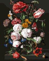 S.old - Schilderen Op Nummer Volwassenen - Bloemen In Vaas - Met Frame - 40x50 cm