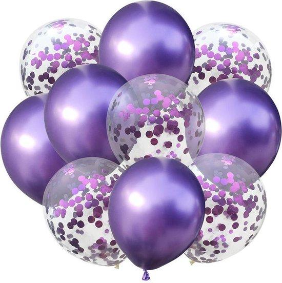 Confetti ballonnen Donkerpaarse set 10 stuks!  30 centimeter   Donkerpaarse confetti ballonnen  Verjaardag of andere feesten
