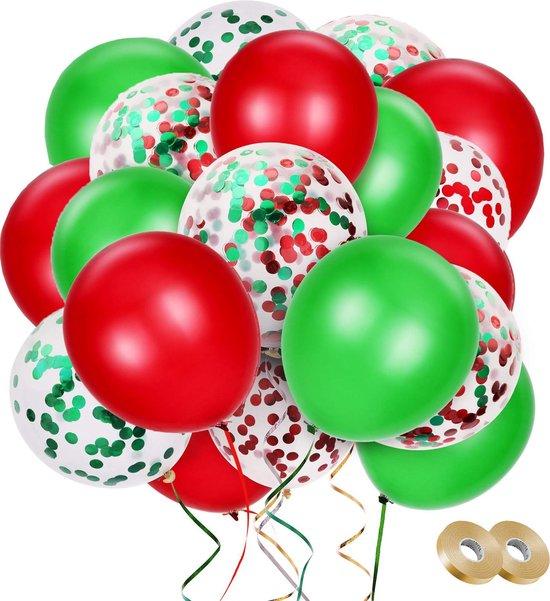 Fissaly® 40 stuks Groen & Rood Versiering Confetti Ballonnen Decoratie met Lint – Helium