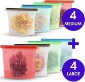 Siliconen Vershoudzakken - Set van 8 ( 4x 1000ML + 4x 1500ML) -(Transparant, rood, groen, blauw) -  Duurzaam - Herbruikbaar - Vries & Hitte Bestendig - Meal Prep - opbergzak Maatbeker Meal Prep container