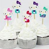 ProductGoods - 48 x Leuke Hello Kitty cocktailprikkers | Verjaardag | Sateprikkers | Traktatie | Feest | Cake topper decoratie | Prikkers