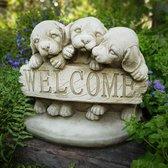 Betonnen tuinbeeld Puppy's - Welkom tuinbeeld