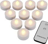 LED theelichtjes 10x met vlameffect + afstandsbediening   waxinelichten op batterij (meegeleverd)   waxinelichtjes led-kaarsen kaars theelichtjes 37x36mm