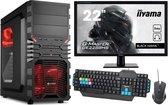 """Complete Game PC Met 22"""" Monitor, Toetsenbord en Muis - Ryzen 3200G - 8GB RAM - 480GB SSD - VEGA 8 - ROOD"""