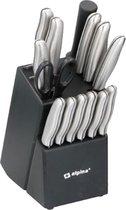 Alpina RVS Deluxe Set - 15-delige set - Roestvrij staal - RVS - Met messenblok - Koksmes - Snijmes - Broodmes - Santokumes - Universeelmes - Schilmes - 6 Steakmessen - Schaar - Messenslijper