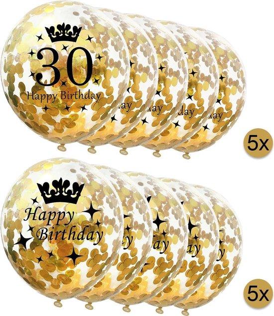 10 stuks confetti ballonnen | 5 stuks 30 jaar + 5 stuks Happy Birthday | Gouden Confetti | Verjaardag | Versiering
