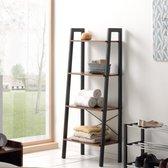 Boekenkast - Industriële Look - 56x34x136.8cm – Zwart en Vintage Bruin