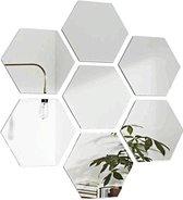Hexagon wandspiegel - Woonkamer decoratie - Zeshoek wand spiegel set - 12 stuks - 184 x 160 x 92 mm