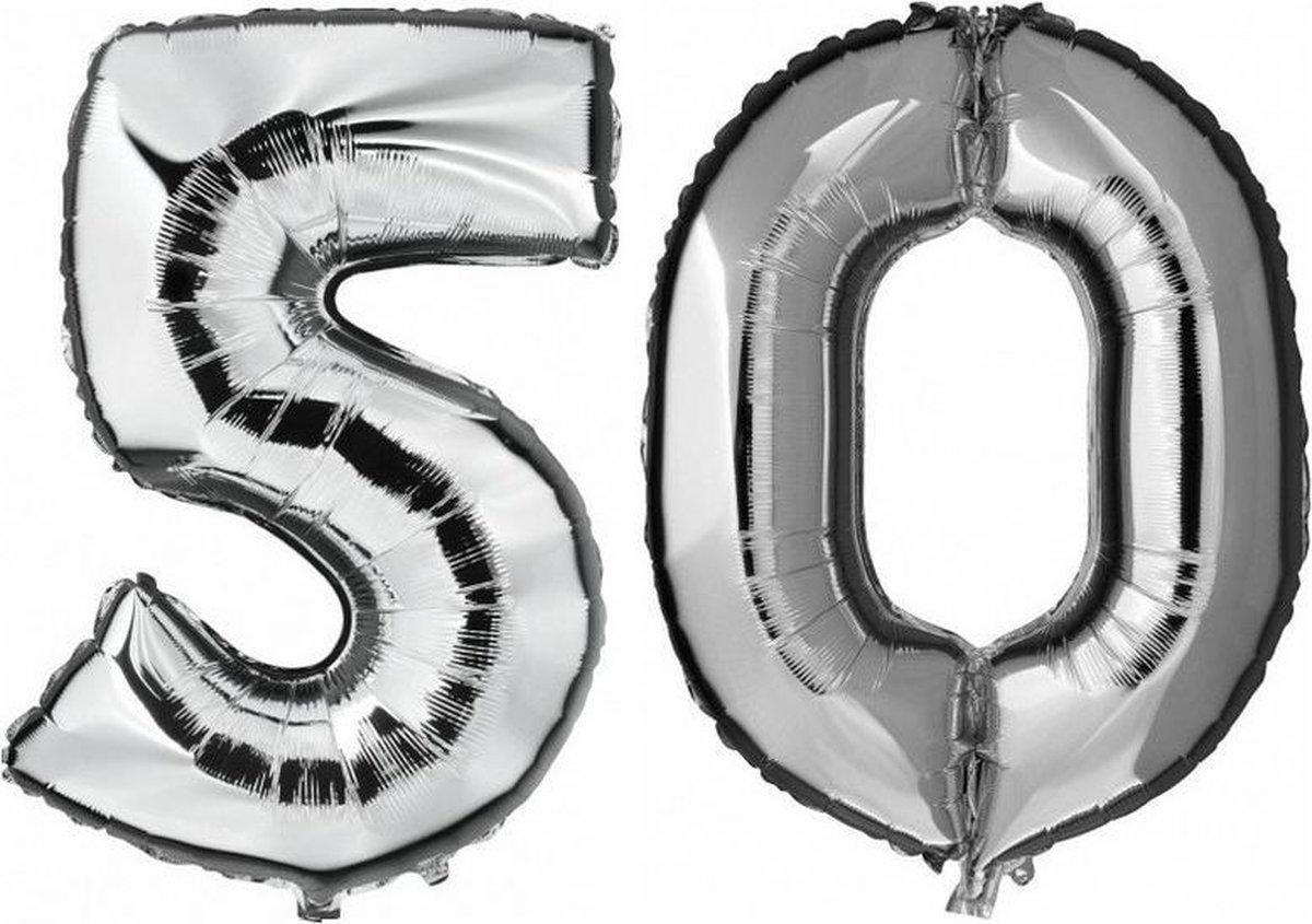 50 jaar zilveren folie ballonnen 88 cm leeftijd/cijfer - Leeftijdsartikelen 50e verjaardag versiering - Heliumballonnen
