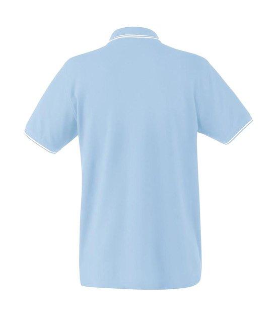 Fruit Of The Loom Poloshirt Heren Sky-blauw-wit Maat S Dubbele Strepen