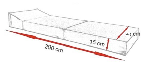 Design logeermatras - organic - camping matras - reismatras - opvouwbaar matras - 200 x 90 x 15 - sofa