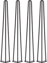 4 x 71 cm - Hairpin Retro Pootjes / Tafelpoten / Pinpoten - 3 Ledig - Zwart - Incl. Vloerbeschermers