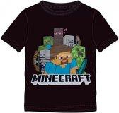 Minecraft T-shirt. Kleur zwart. Maat: 128 cm / 8 jaar.