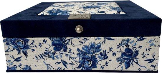 The Box For Tea Delftsblauw Bloemen - Theedoos met Thee Cadeau - 9 vaks - Blauw