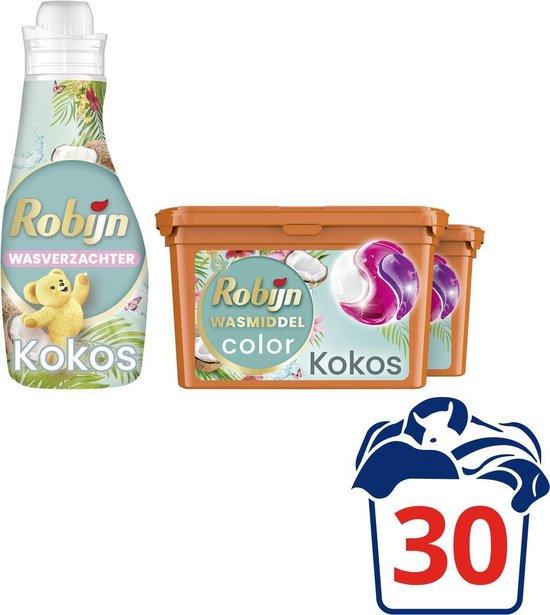 Robijn Perfect Match Kokos Wasmiddel Capsules en Wasverzachter - 2 x 15 + 30 wasbeurten - Voordeelverpakking