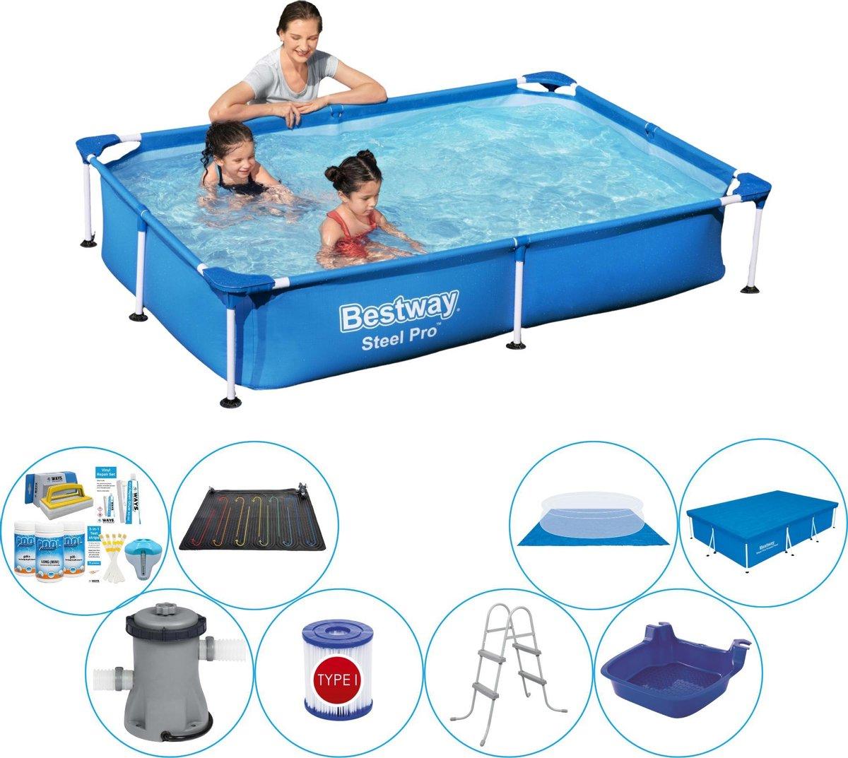 Bestway zwembad set - rechthoekig - Steel Pro - 220 x 150 x 43 cm - 1200 liter