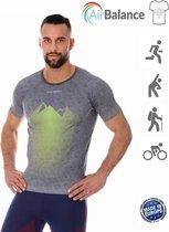 Brubeck Athletic - Airbalance Hardloopshirt / Sportshirt Heren - Lichtgrijs - L