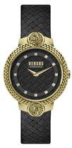 Versus Versace Mouffetard Extension 3D Lion Head Black Gold Swarovski - Dameshorloge - VSPLK1220 - Lederen horlogeband - 38 MM - Zwart - Goud