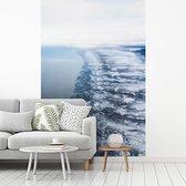 Fotobehang vinyl - Besneeuwde kust van Anchorage vanuit de lucht in Alaska breedte 175 cm x hoogte 260 cm - Foto print op behang (in 7 formaten beschikbaar)