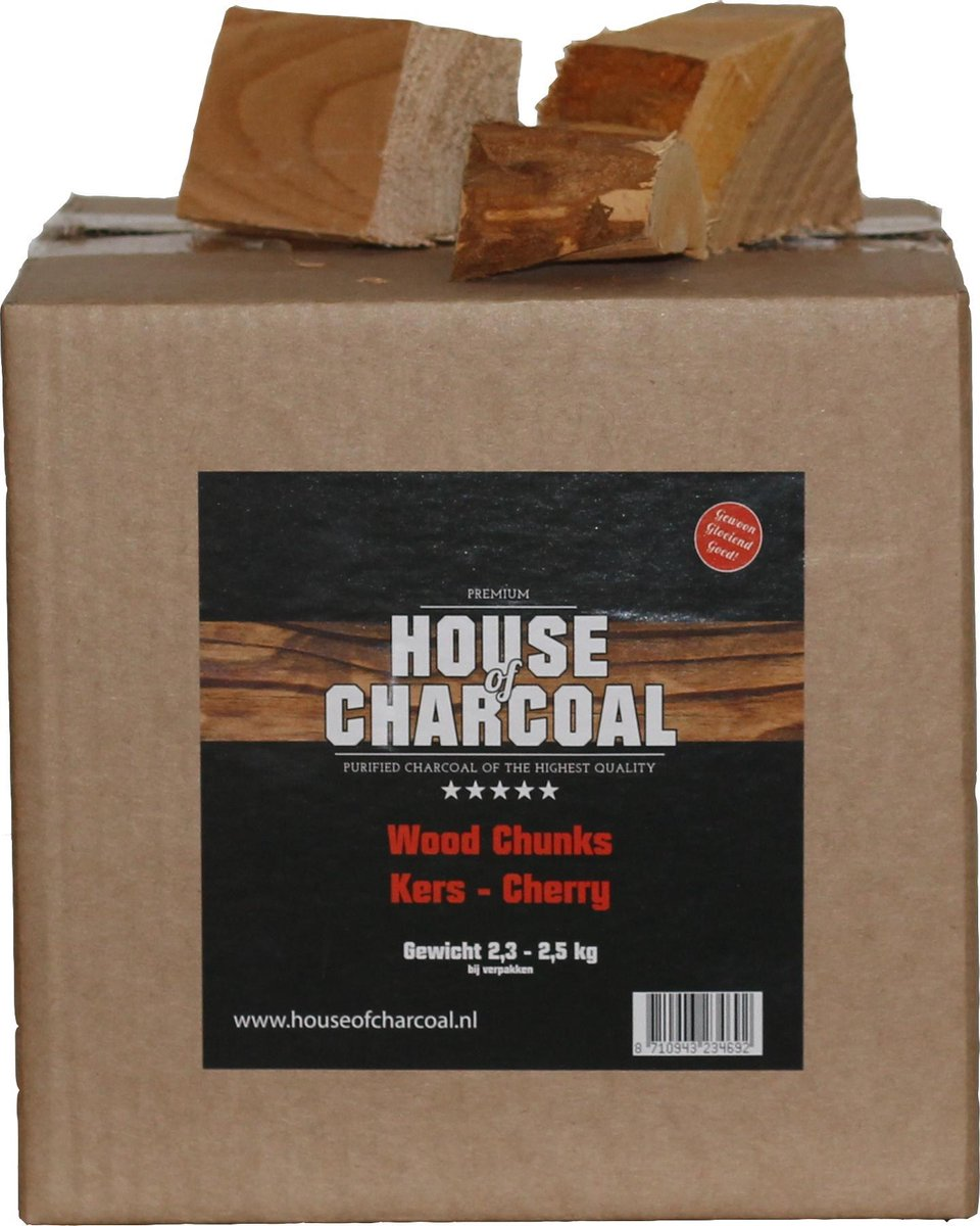 Rookhout chunks Kersen - Chunks Cherry smoking wood - 2,5 kg