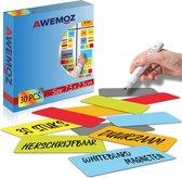 Scrum Magneten - 30 stuks - Voor Whiteboard, Magneetbord, Memobord of Magnetisch Tekenbord – Herschrijfbare Magneten op Koelkast - Post It Notes – Kanban - 7,5 x 2,5 cm - 6 Kleuren