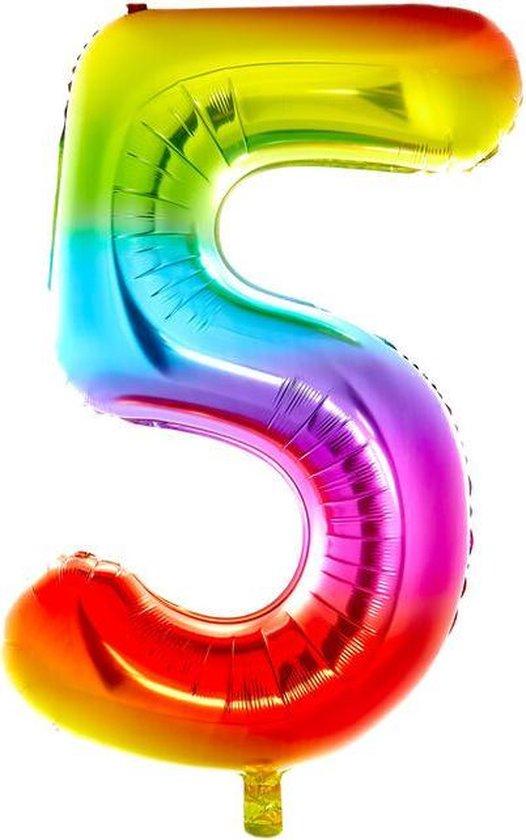 Cijfer Ballon nummer 5 - Helium Ballon - Grote verjaardag ballon - 32 INCH - Regenboog  - Met opblaasrietje!