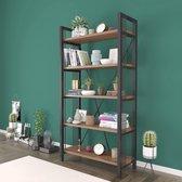 Wood House Medusa Wandkast Industrieel Hout en Metaal - Industriële Boekenkast - Open Vakkenkast - 5 Planken - Design Meubel -  Zwart en Bruin - 90x35x180