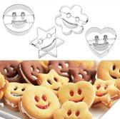 Uitsteekvormen Smiley RVS 4-delig set Hart Bloem Ster en Smiley vormen