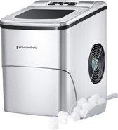 KitchenBrothers IJsblokjesmachine - 2 Liter - 6-8 Minuten - 12kg IJs per 24 uur - IJsblokmaker met IJsschep - RVS