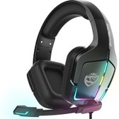 SoulBytes S12 RGB gaming headset met stereo microfoon voor PS4-laptops-Xbox One -Zwart