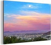 Abnormaal mooie kleuren in de lucht boven Kaapstad Aluminium 60x40 cm - Foto print op Aluminium (metaal wanddecoratie)