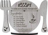 VUT/pensioen - Recept voor een goed pensioen - houten wenskaart - geniet van je pensioen - klein