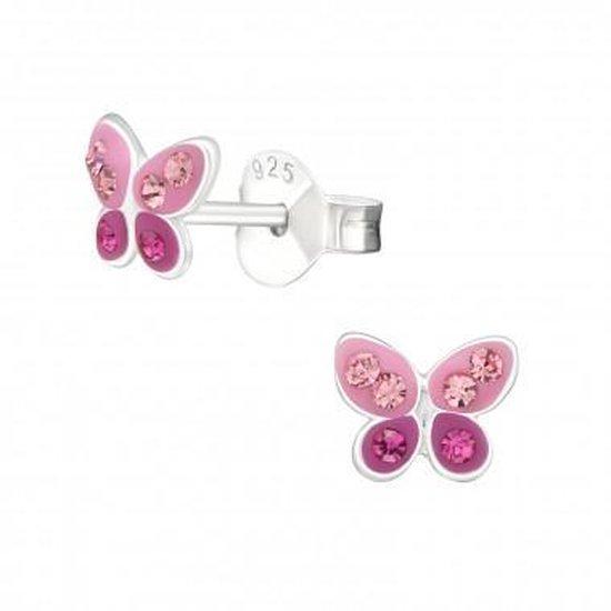 Oorbellen meisje   Zilveren kinderoorbellen   Zilveren oorstekers, roze vlinder met kristallen