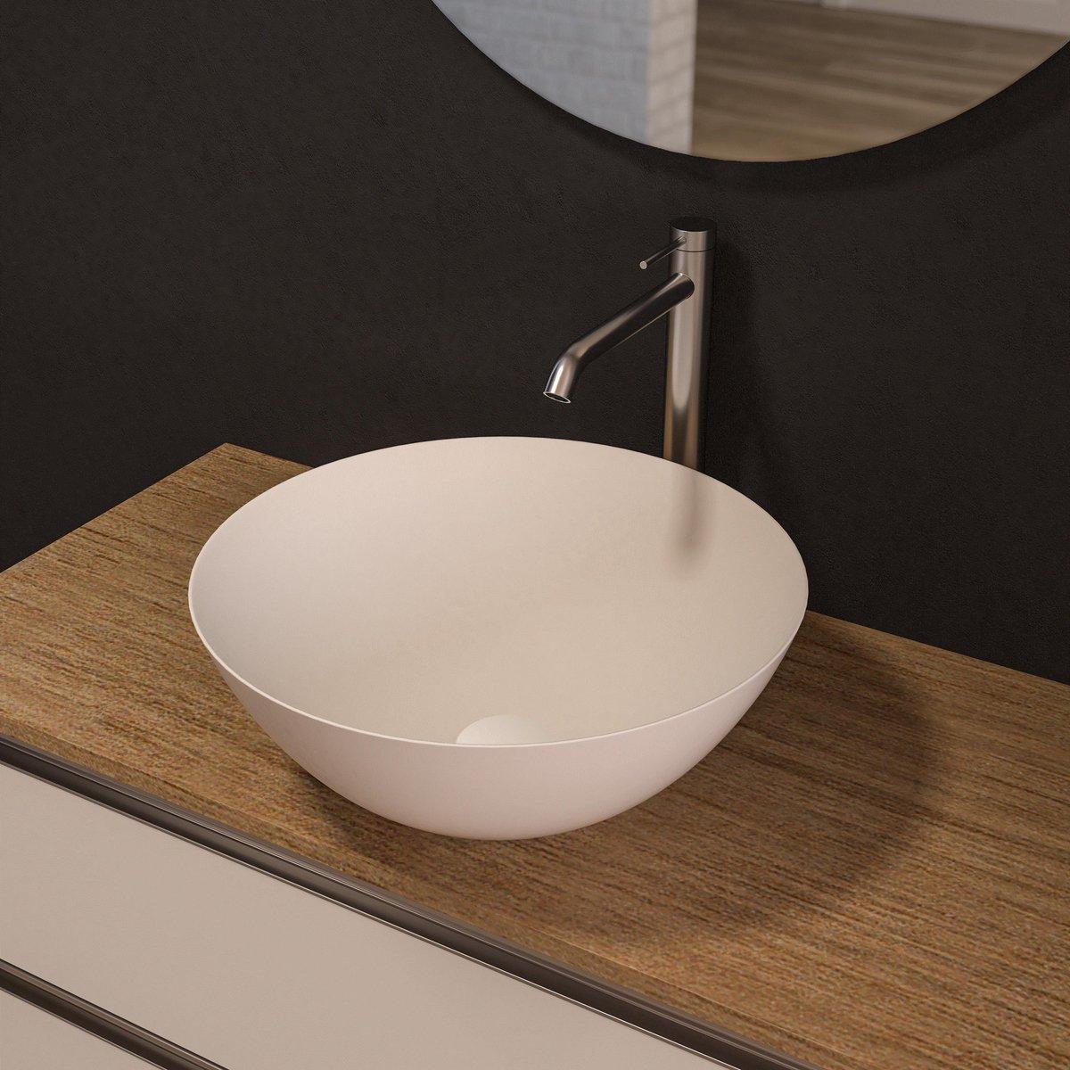 Wastafel / Wasbak -opbouw - wit - rond- keramiek - zonder overloop - 41x41x15cm