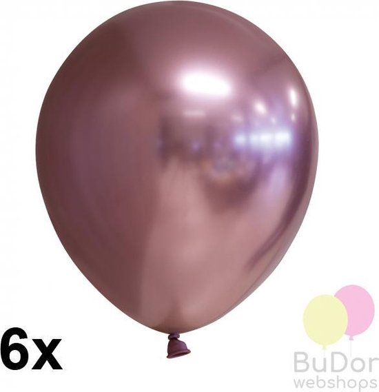 Chrome ballonnen, rose gold, 6 stuks, 30 cm