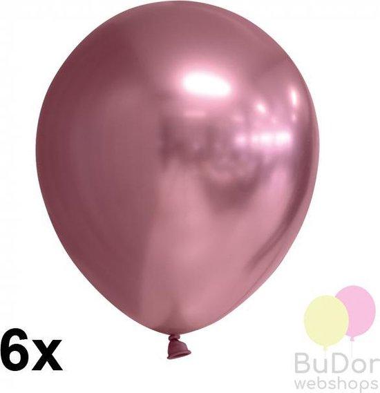 Chrome ballonnen, roze (mauve), 6 stuks, 30 cm