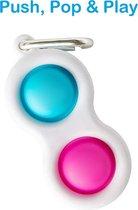Simple Dimple - Fidget Toys - Pop It Fidget Toy - Sleutelhanger - Blauw - Roze